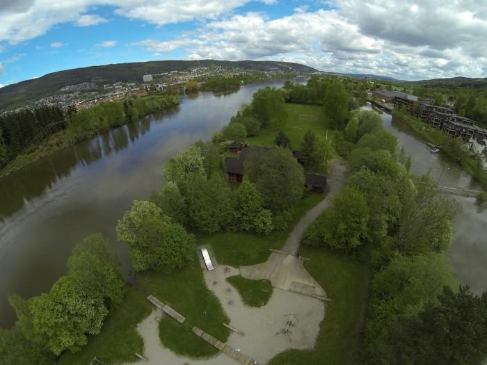 Sølfastøya Drammen - Flyfoto - Flom 2013