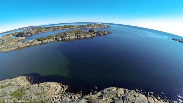 Utsikt mot Stavernsøya, Citadellet og Stavernsoddenfyr  - Flyfoto Stavern